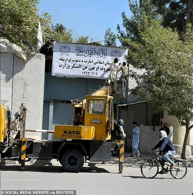 The works in the Afghan capital covered the Ministry of Women's signs of compensation in a mixture of Dari and Arabic, with the text 'Prayers and guidance and promotion of virtue and prevention of vice'.