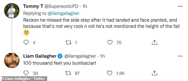 Joker: In Liam Gallagher fashion, the rocker continued to have fun with his followers, who had a plethora of questions about the details of the crash