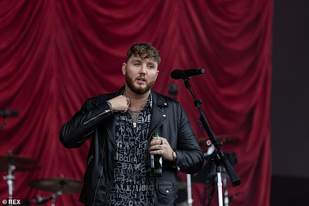 Rocker Vibes: The Say You Won't Let Go singer channeled serious rocker vibes in a black leather jacket and a printed black and white shirt for the show