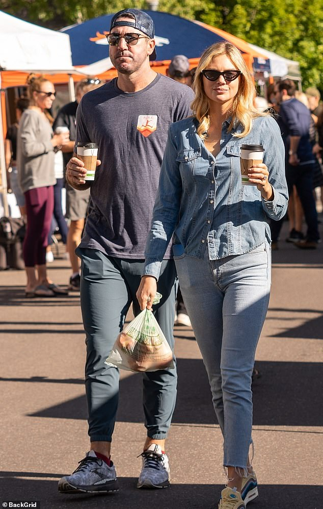 Dating: Kate Upton was seen at the Aspen Saturday Market on Saturday with her nearly four-year-old husband Justin Verlander