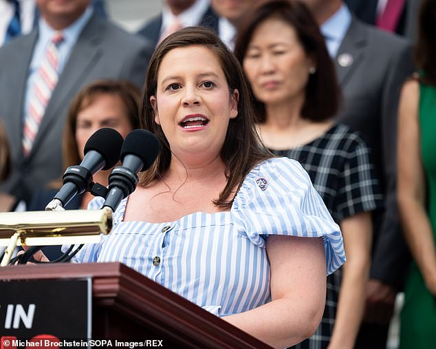 Representative Alice Stefanik - pictured here on 29 July - was reprimanded by her hometown paper for her 'low' ads against immigrants