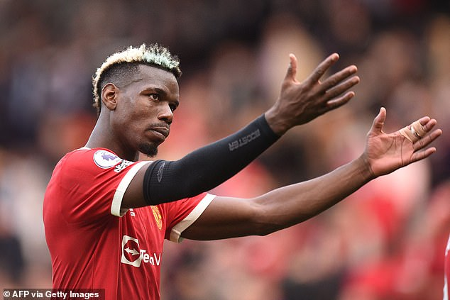 Meanwhile, Pogba's (above) contract at Manchester United expires at the end of this season