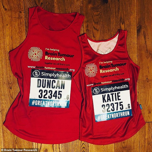 Special: Duncan's wife Katie recently ran The Great North Run in memory of her husband - who died aged 39 in April - they had previously run the race together