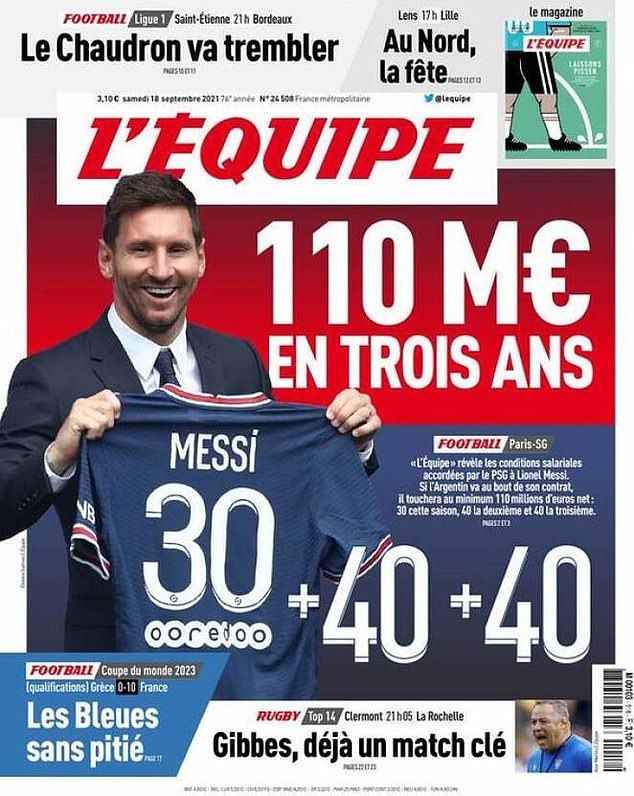 French paper L'Equipe 'leaked' Messi's specific contract details on Saturday morning (above)