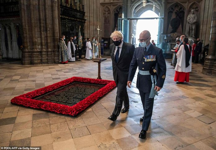 PM participated alone in social distancing service;  Image: Boris Johnson walks past the Tomb of the Unknown Soldier