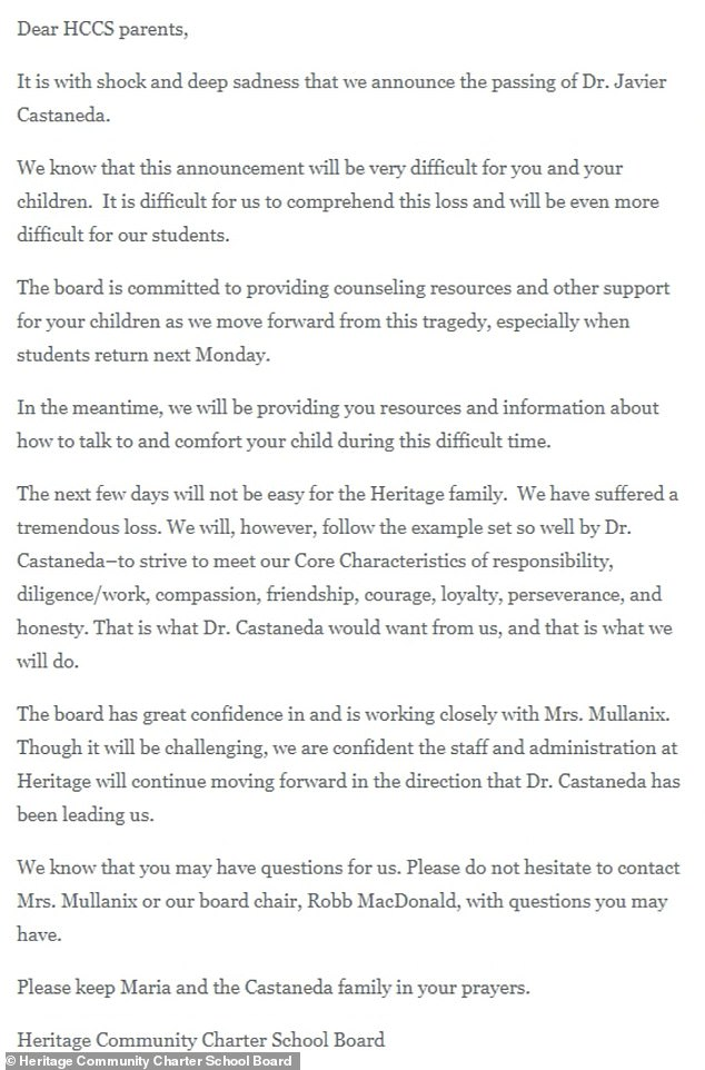 A letter was released by the Heritage Community Charter School Board announcing Castaneda's death and offering counseling resources for grieving students