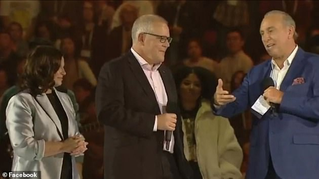 Australian Prime Minister Scott Morrison with Brian Houston - who has been described as a 'spiritual mentor' to the PM