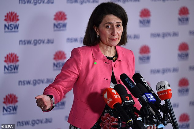 NSW Premier Gladys Berejiklian (pictured) felt more comfortable removing the east-west divide with a dramatic fall in new cases to just 1,083 - the lowest infection tally in over three weeks - with cases creeping up in the inner-city and east