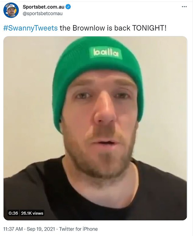 Loose unit: AFL legend and 2011 Brownlow medallist Dane Swan (pictured) hosted his annual 'takeover' of Sportsbet's Twitter account during Sunday night's ceremony - but was gagged from making jokes about the embattled ex-wife of Jimmy Bartel