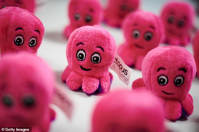 Five small energy suppliers – Hub Energy, PfP Energy, MoneyPlus Energy, People's Energy and Utility Point – have ceased trading after being hit by the price rise. Pictured, aselection of Octopus Energy promotional toys