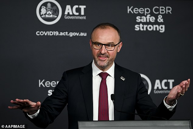 'The chief minister Andrew Barr (pictured) has actually laid out that path but we will have more details to say at the next check point by the first of October,' she said