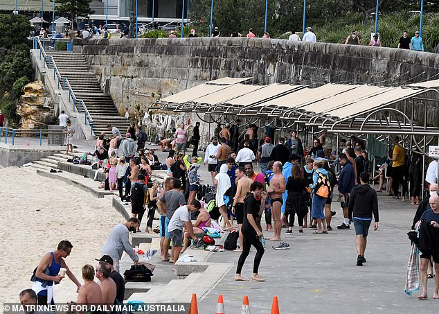 Dr Nick Coatsworth has no problems with scenes of packed beaches in Sydney (pictured Coogee)