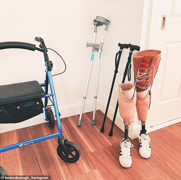Pictured:Lauren McDonough's walking aids. She has prosthetic legs, a walking frame and walking sticks