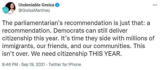 United We Dream executive director Greisa Martínez Rojas tweeted that the fight for citizenship is not over