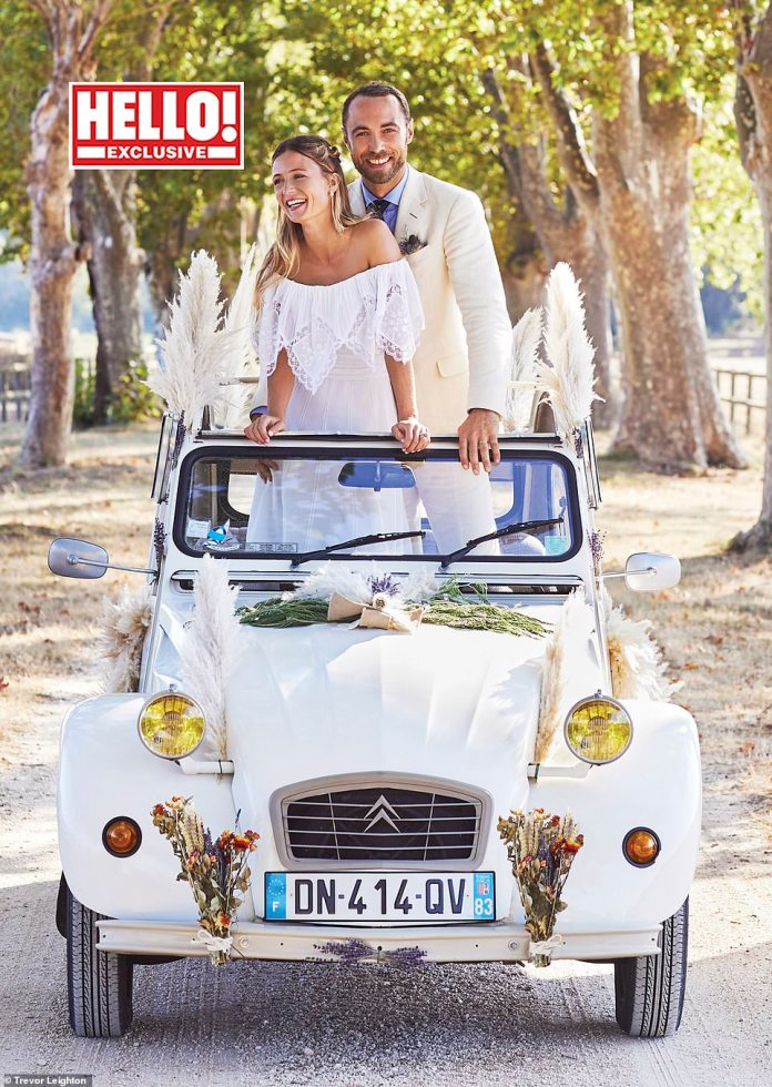 James Middleton's bride Alizee Thévenet (pictured together on their big day) has revealed that she wore her mother-in-law Carol's wedding dress for her special day in France