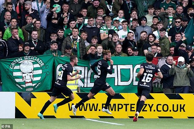 Livingston's Andrew Shinnie (centre) celebrates scoring his side's winner on Sunday