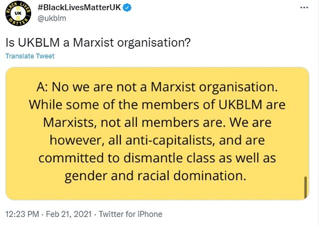 Meanwhile, the UK Black Lives Matter group - UKBLM - denies that it is a 'Marxist organisation'.  Instead, it describes itself as 'anti-capitalist' and says it has 'Marxist members'.
