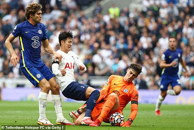 Chelsea goalkeeper Kepa Arrizabalaga thwarts Son in a one-on-one during the first-half
