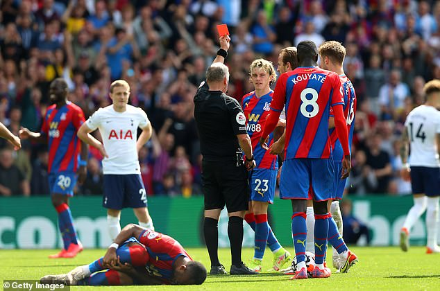 The defender was then sent off for a rash tackle on Jordan Ayew a few minutes later