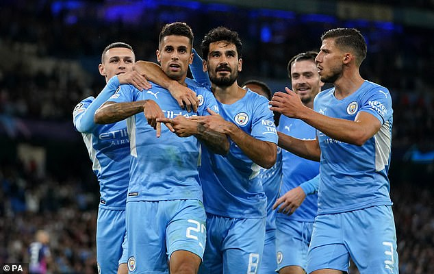 City will rest several of their first-team stars, including Rubén Dias (far right) and Joo Cancellos.