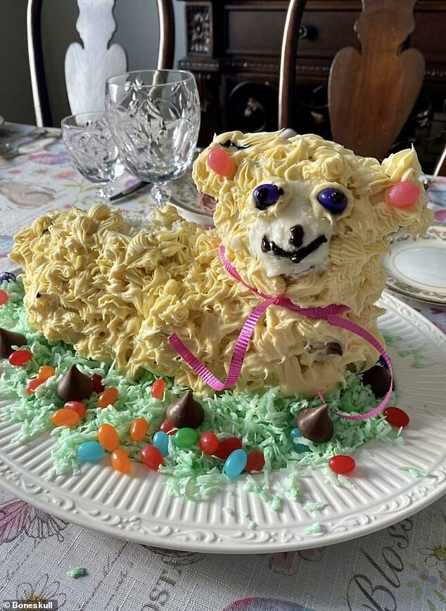 Is it the glass-eyed stare or the frantic grin that makes this lamb-shaped cake, from an amateur chef at an unknown location, look like something out of a horror movie?