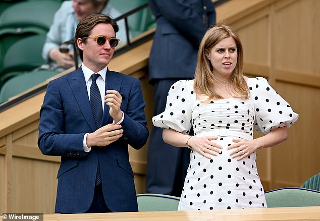 Wolfie, the son of and already parents Edo, who celebrates their one-year wedding anniversary on July 17, has welcomed the first child they share together (pictured at Wimbledon in July)