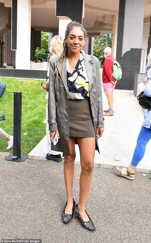 DRESS: Miquita Oliver cuts a fashionable figure as she attends the Roksanda SS22 show during London Fashion Week at the Serpentine Gallery on Monday