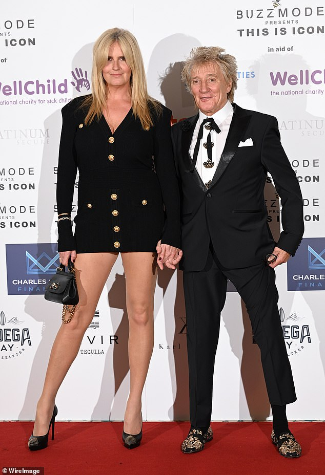 Support: Penny had aided Rod through his surgery recovery and assured fans the singer was doing well as he was discharged from hospital in time to celebrate his 75th birthday (pictured above at The Icon Ball in September 2021)