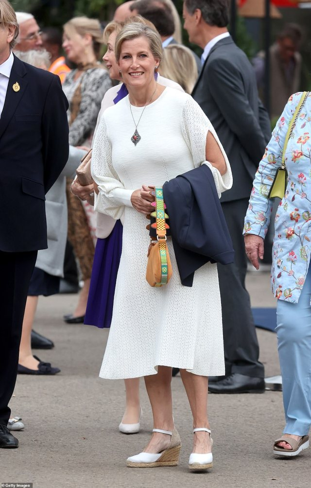 The Royal Family turned out in force for the Chelsea Flower Show preview day today as the event prepares to launch its first ever autumn edition after the traditional spring event was delayed due to Covid. Pictured is Sophie, Countess of Wessex