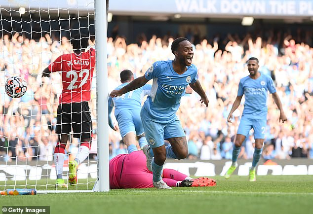 Sterling scored in the final leg against Southampton but his finish was called VAR.  rejected by