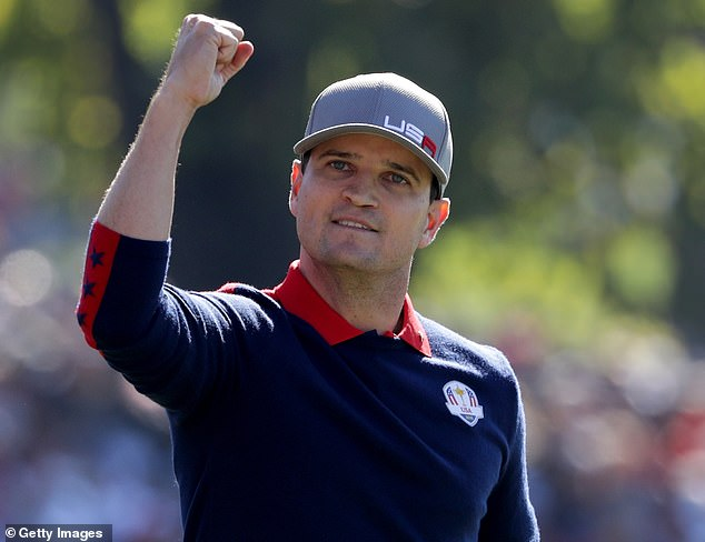 Fitzpatrick played against Zach Johnson (above) in his first match in the 2016 Ryder Cup