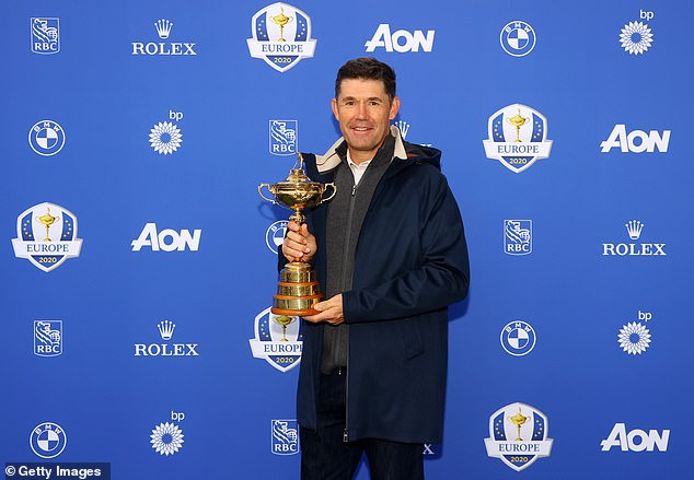 Fitzpatrick's development from a starry-eyed rookie is demonstrated by the amount of conversations and texts he has had with captain Padraig Harrington (above)