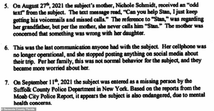 Part of the application for the document reveals a cryptic last text message Gabby sent to her mother Nichole Schmidt that set off alarm bells when it was received.