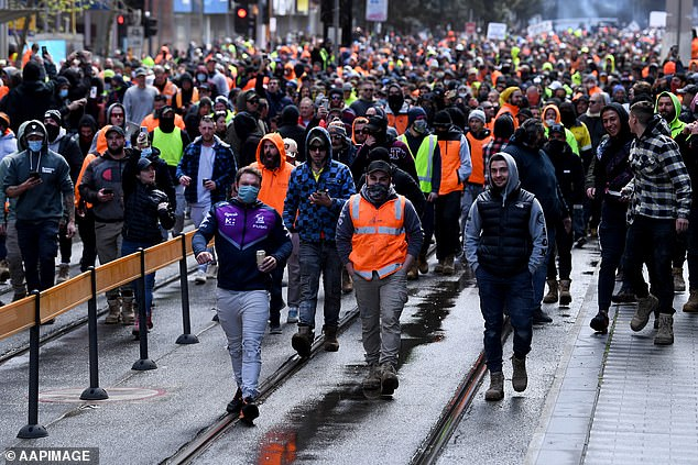 'There was a sprinkling of construction workers there of our members and the rest were just people, I wouldn't even know who they are,' Mr Setka said on Tuesday