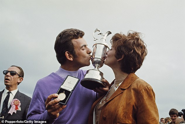 Jacklin and his wife Vivien kiss the Claret Jug after he won the Open Championship at Royal Lytham in July 1969 - but in 1988 she would die suddenly at the wheel of her car