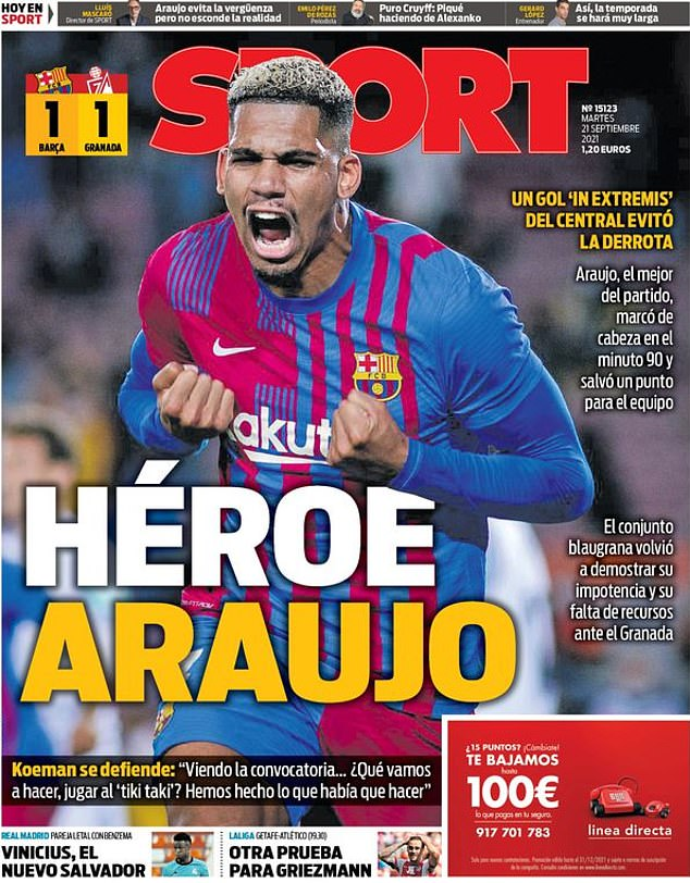 'Hero Araujo': Sport praises defender as he equalized to save his side from defeat