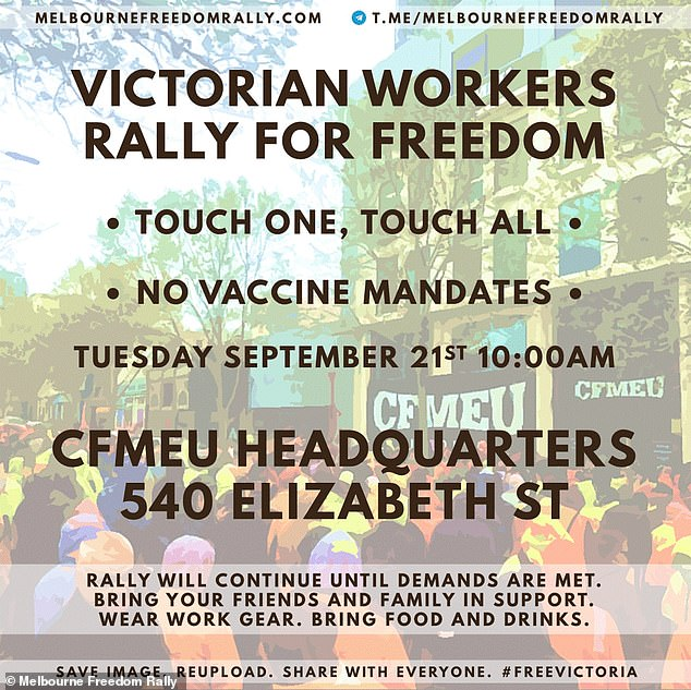 Mr Mcleandidn't hesitate to immediately promote an even bigger rally the next day after Premier Daniel Andrews shut down the whole construction industry for two weeks in response to the riot