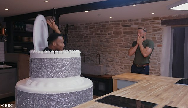 Wonder!  To find out who his professional partner would be, John enters to find someone hidden inside a cake, which causes Johannes to jump again.