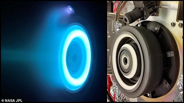 The photo at left captures an operating electric Hull thruster that will propel NASA's Psyche spacecraft, which is set to launch in August 2022 and travel to the main asteroid belt between Mars and Jupiter.