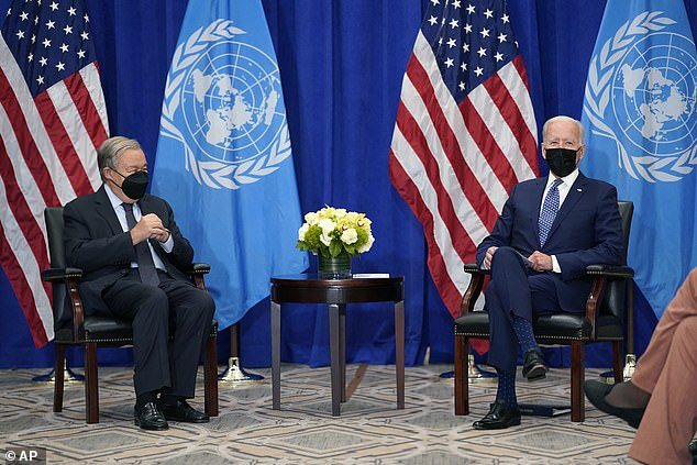 President Joe Biden meets with United Nations Secretary General Antonio Guterres at the Intercontinental Barclay Hotel during the United Nations General Assembly on Monday. He is scheduled to meet with Johnson at the White House later on Tuesday