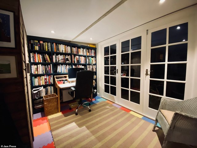 The finished result is stunning, with insulation in the walls, floor and ceiling making the garden office cosy even in winter. The entrepreneur was able to design the space to fit his needs and added in a built-in bookcase and separate seating area
