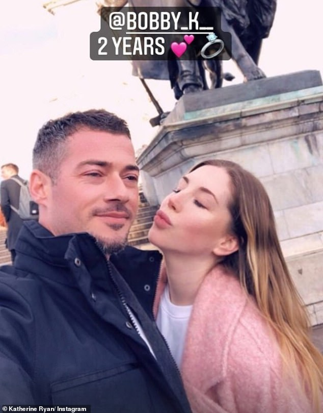 Love happened: Katherine Ryan, 38, shared a photo on Instagram on Tuesday celebrating her two-year civil partnership with Bobby Kustra, also 38