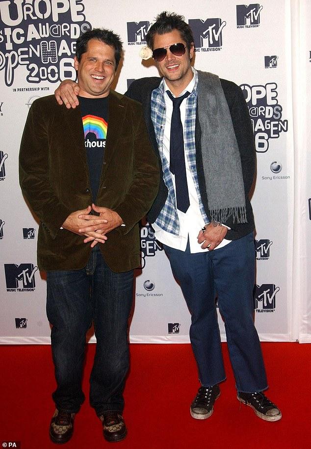 Her costars: Director Jeff Tremaine (left) arrives with Jackass star Johnny Knoxville for the MTV Europe Music Awards in Copenhagen, Denmark in 2006