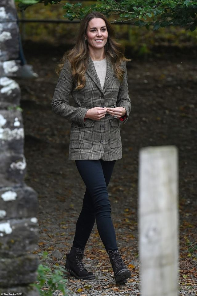 Kate Middleton put on a stylish display as she arrived in Cumbria this afternoon where she will carry out visits highlighting the beneficial, lifelong impact that nature and the outdoors can have on young people