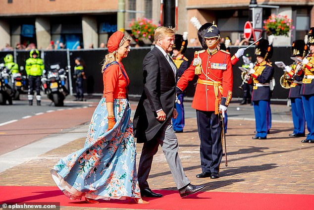 Her husband King Willem-Alexander, 54, looked equally sophisticated in a tuxedo, teamed with a striped tie