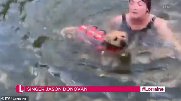 Last Time: 'It Feels Fabulous, It Relieves Hangovers!'  Jason said a clip of Lorraine swimming with her dog was shown on screen
