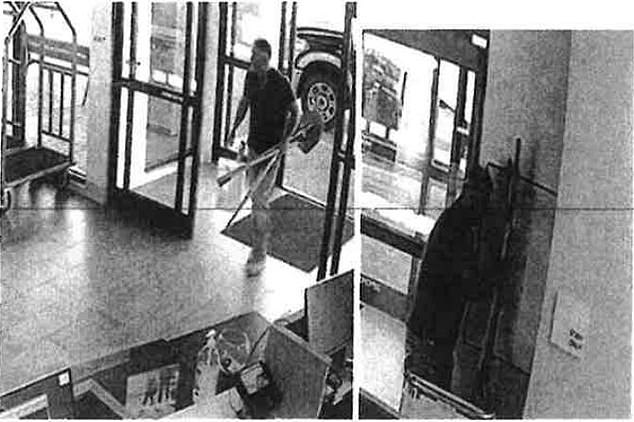 Colorado law enforcement officials released this photo showing Barry Morphew carrying two shovels into aHoliday Inn hotel in Broomfield, Colorado on May 10, 2020 - the same day that his wife, Suzanne Morphew, 49, vanished