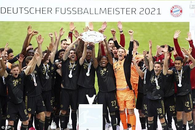 The German giants Bayern (above) have claimed the last nine Bundesliga trophies