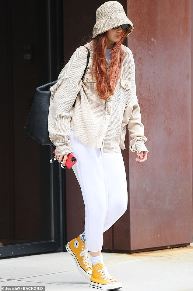 Out and about:Gigi Hadid cut a casual figure in white sweats as she stepped out for a stroll in New York City this week