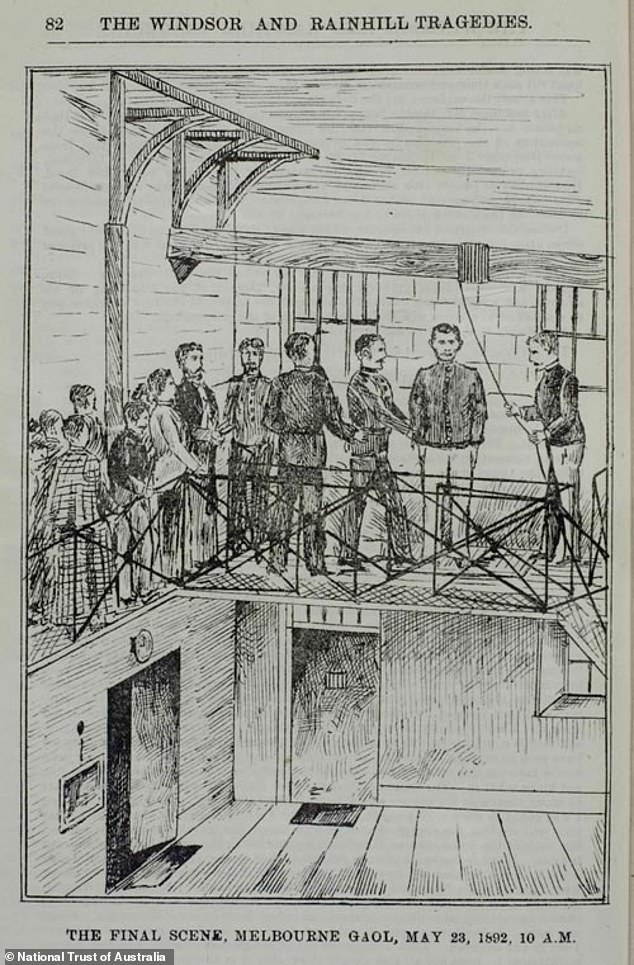 Deeming was sentenced to death after Deakin failed to convince the jury that his client was insane. Above is an illustration of Deeming's hanging at Melbourne Gaol which appeared in The History of a Series of Great Crimes on Two Continents